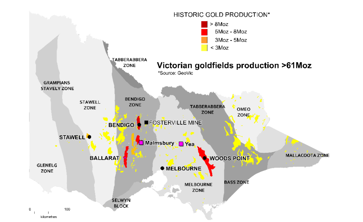 Figure: Major goldfields and structural domains in Victoria showing the location of the Malmsbury Au Project and Yea W,Mo,Au Project.