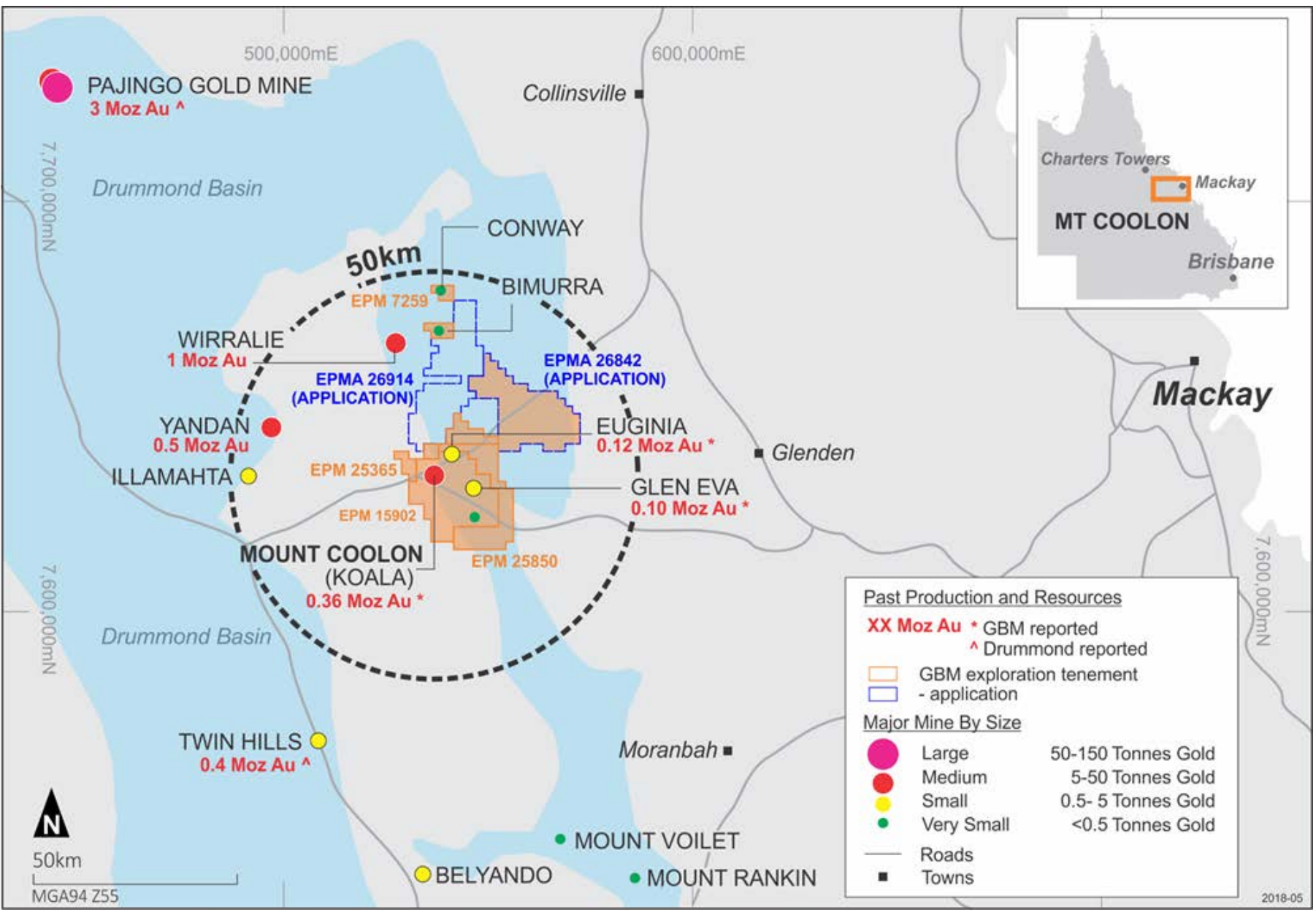 Figure: Resources, exploration prospects and tenement locations in the Mount Coolon Gold Project.